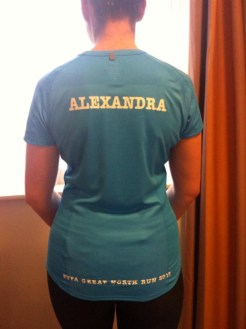 Why I run. Image of back of Alex Grace with the word Alexandra written on back of running top and Buda Great North Run 2013