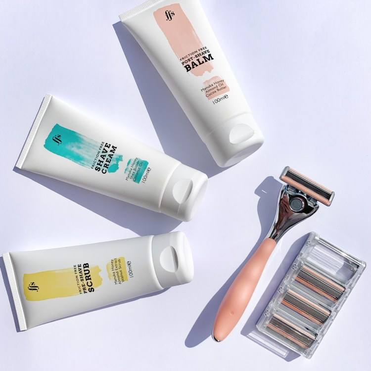 Here comes the sun: the easy way to get yourself summer ready. Image of Friction Free Shaving Razor, blades, scrub, shave cream and balm