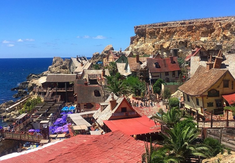 Fun things to do in Malta with Kids. Image of Popeye Village