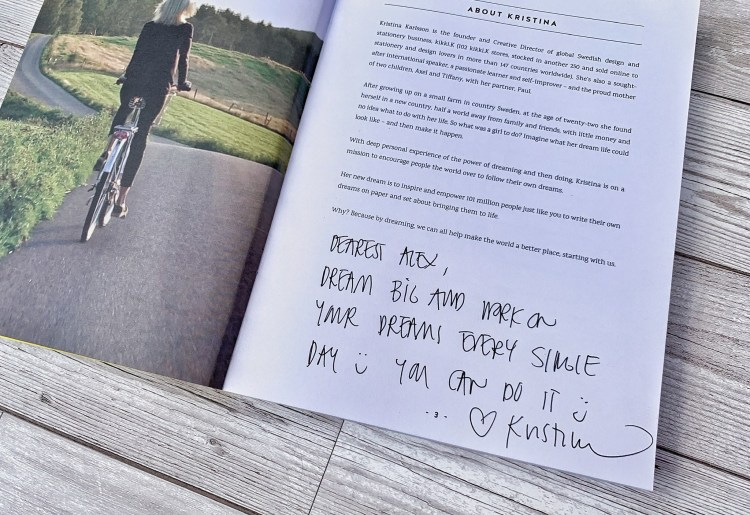Image of personalised inscription within Your Dream Life Starts here book by Kristina Karlsson