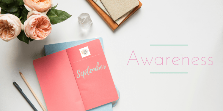 Self-Awareness Well-being Focus. Flatlay Image of a pink journal showing the Living Pretty Happy Logo and the word September written on it. There are peach flowers, a crystal, pencils and other notebooks around it. The word AWARENESS is also displayed