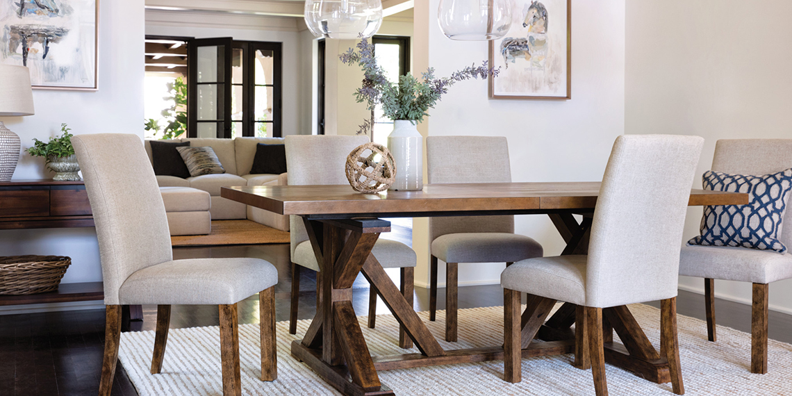 Coastal Dining Room With Chandler Set
