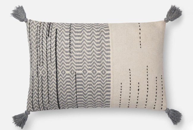 Accent Pillow-Magnolia Home Zig Zag Tassels Ivory/Grey