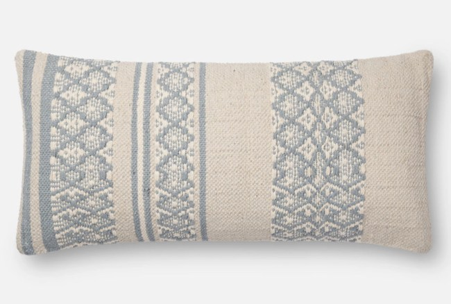 Accent Pillow-Magnolia Home Zig Zag Bands Lt. Blue/Beige