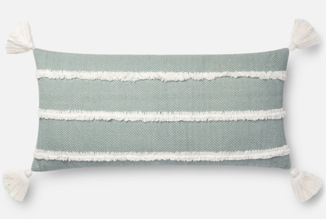 Accent Pillow-Magnolia Home Herringbone Stripe Lt. Blue