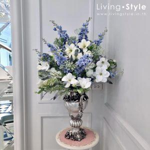 แจกันดอกไม้ ดอกไม้สีฟ้า ดอกไม้ขาว ดอกไม้ปลอม ดอกไม้ประดิษฐ์