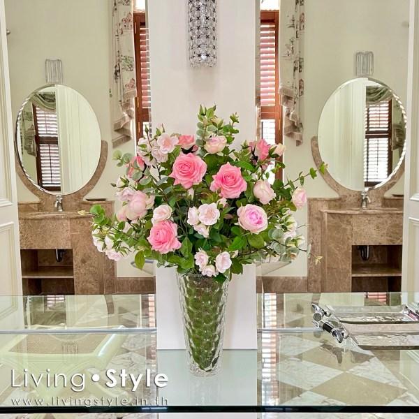ดอกกุหลาบ สีชมพู กุหลาบชมพู กุหลาบอังกฤษ 02 ตกแต่งบ้าน Livingstyle ดอกไม้ปลอม ต้นไม้ปลอม ดอกไม้ประดิษฐ์ ต้นไม้ประดิษฐ์ ตกแต่งบ้าน สวนแนวตั้ง สวนหย่อม