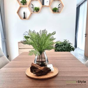 ตกแต่งโต๊ะรับแขก โต๊ะข้างเตียง ด้วยใบสนมังกร %%sep%% ตกแต่งบ้าน Livingstyle ดอกไม้ปลอม ต้นไม้ปลอม ดอกไม้ประดิษฐ์ ต้นไม้ประดิษฐ์ ตกแต่งบ้าน