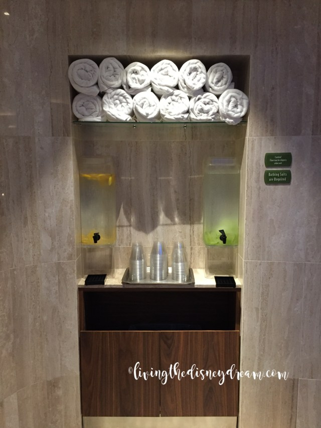 Towels and fresh iced water (cucumber or lemon infused)