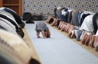 Midday prayers at Strasbourg Grand Mosque in Strasbourg, France on the first day of Ramadaan