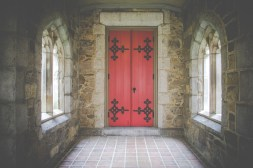 red-church-door