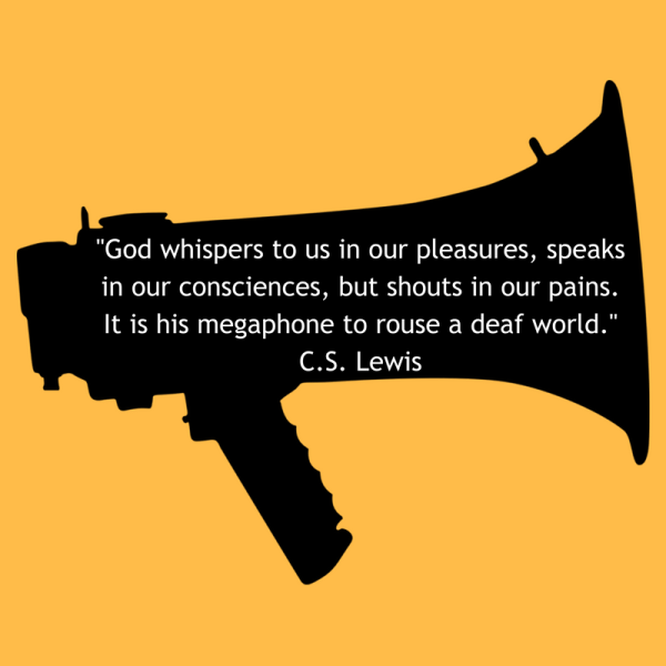 God whispers to us in our pleasures, speaks in our consciences, but shots in our pains. It is his megaphone to rouse a deaf world.C.S. Lewis