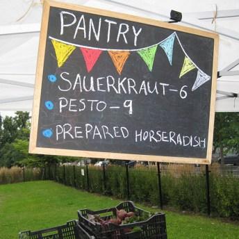 Pantry chalkboard offerings.