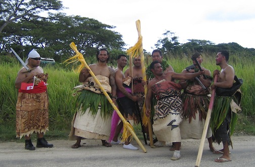 Waiting for the king of Tonga.
