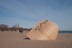 Toronto beach with Winter Stations.
