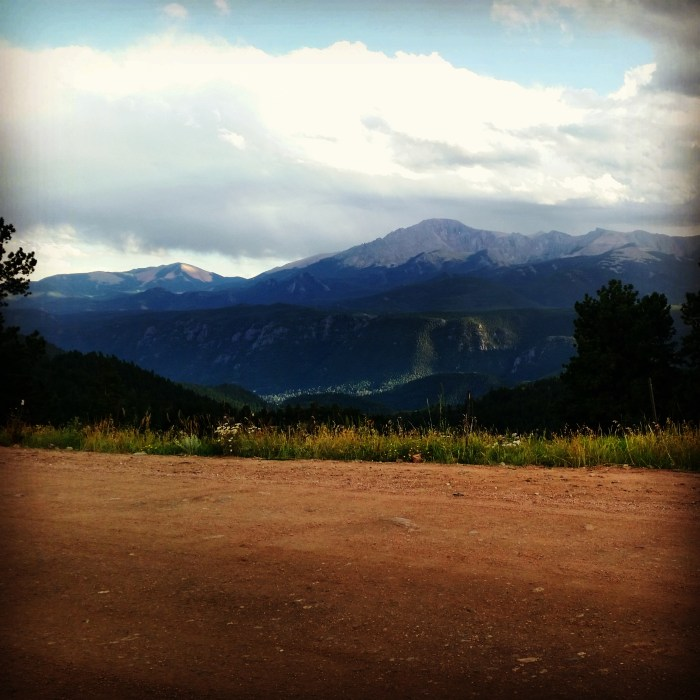 The view from our free campsite in Pike National Forest. (Pike's Peak is the tall mountain in the background.)