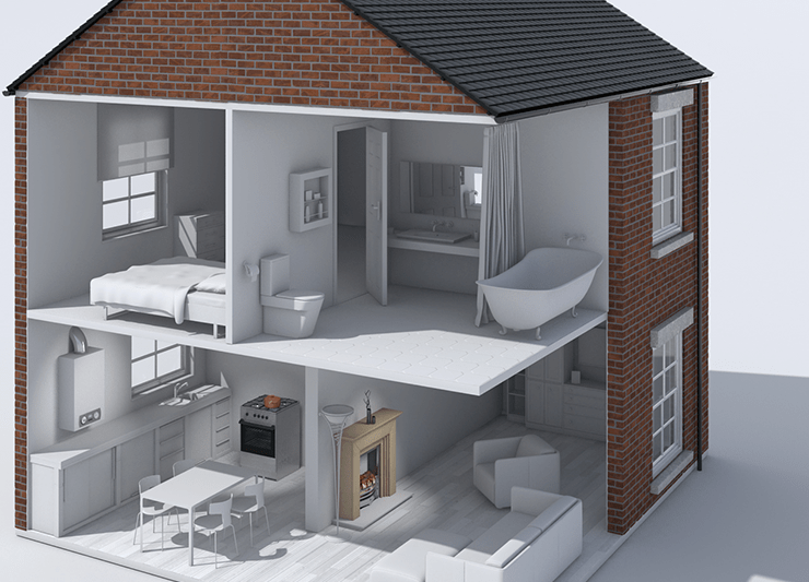 3 dimensional image of a home with the walls cut away, showing a gas cooker, boiler and fireplace. The article discussed the importance of Gas Safety Certificates.