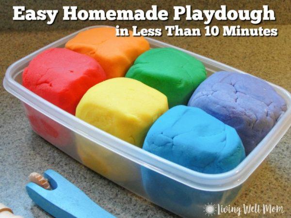 easy homemade playdough recipe rainbow colors