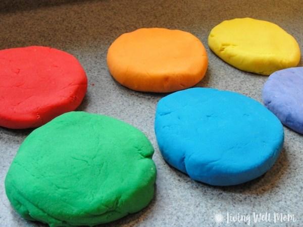 homemade playdough colorful discs