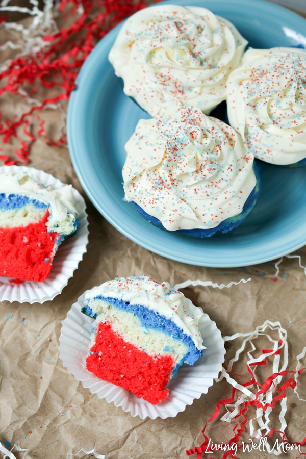 This delightful Patriotic Cupcakes recipe is easy to make and perfectly red-white-and-blue festive for any 4th of July or Memorial Day party! These cupcakes are simple enough that kids can help make them - you don't have to be an expert baker!