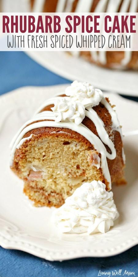 Rhubarb Spice Cake with Spiced Whipped Cream is a delicious way to use rhubarb in bundt cake form while the fresh whipped cream is the perfect light topping!