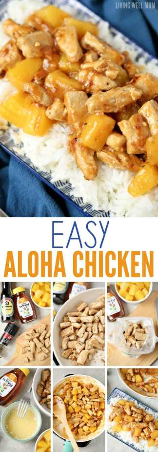 easy aloha chicken dinner recipe with pineapple chunks and rice
