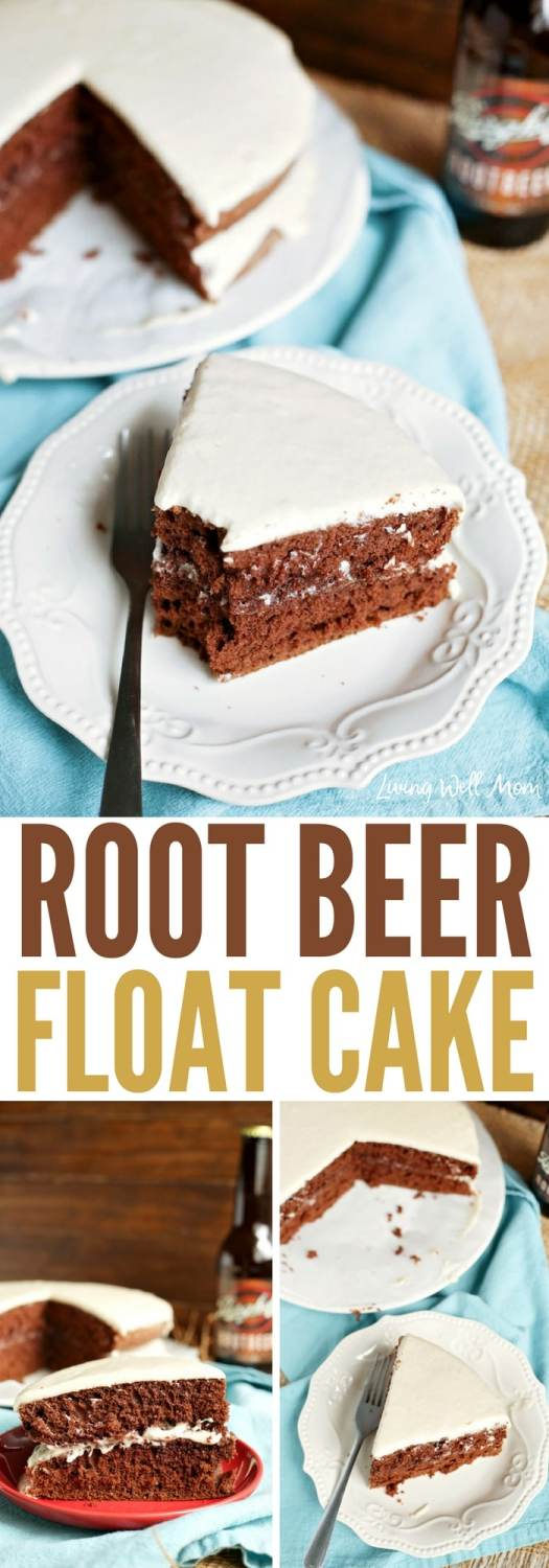 "This easy Chocolate Root Beer Float Cake has all the flavors of your favorite sweet drink in a delicious chocolate cake! It's perfectly flavored with root beer while the creamy frosting adds the perfect ""foamy' touch. It's really no surprise that this chocolate cake is a family favorite recipe!"