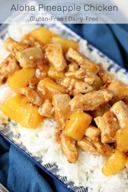 aloha pineapple chicken with rice dinner