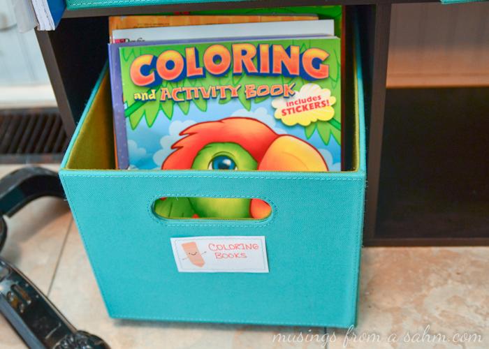 Coloring book bin
