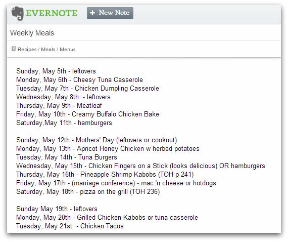 Evernote Menu Planning