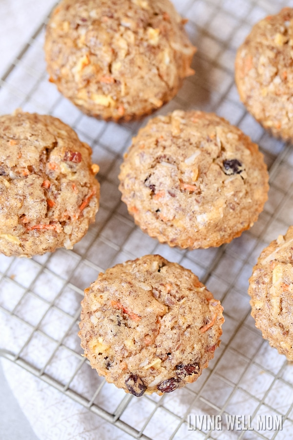 This easy Morning Glory Muffins recipe is chock full of good stuff, like carrots, apples, flaxseed, pecans, coconut, and raisins. It's perfect as a filling snack for kids or mom too!