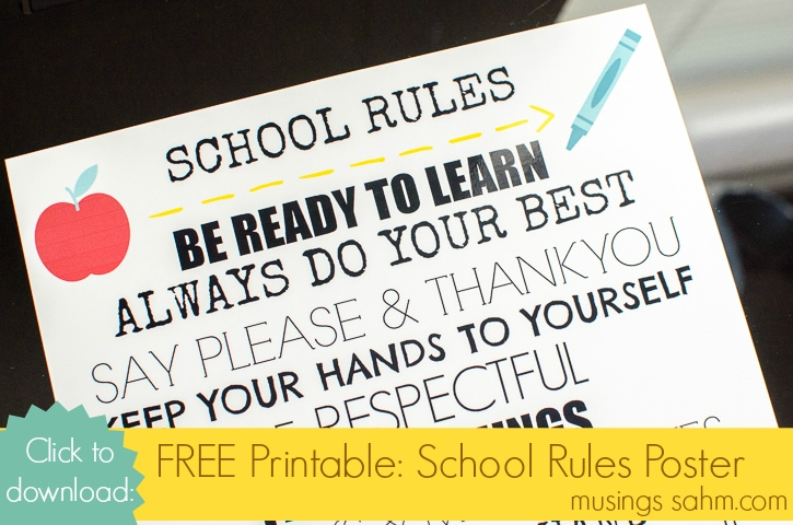 Free Printable - School Rules Poster
