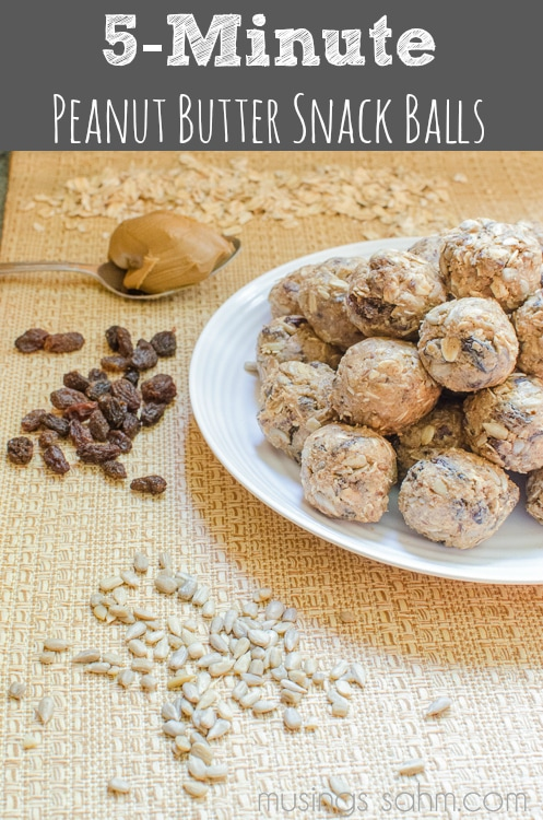 Easy 5-Minute Peanut Butter Snack Balls recipe - packed with protein, healthy snack recipes