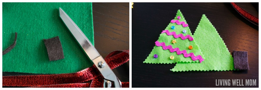 Felt Christmas Tree Ornaments are a perfect first sewing project for kids as young as 4 years. Easy to make, this craft can be customized and enjoyed all the way up to adults!
