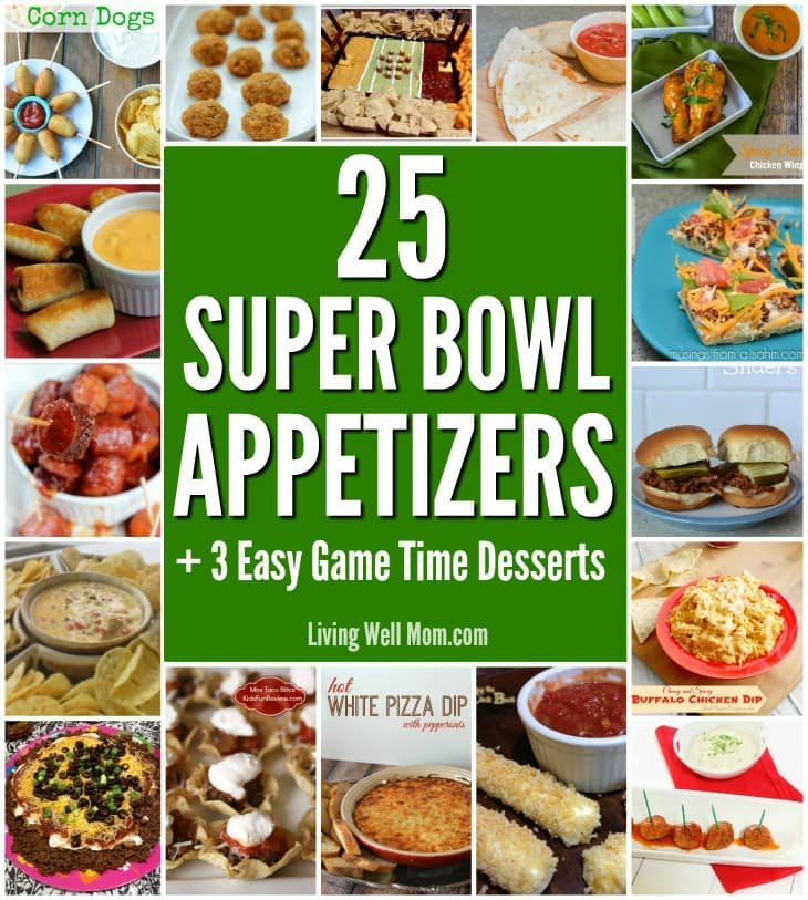 Looking for ideas for tasty game day recipes? Here's 25 Super Bowl party appetizers, including yummy recipes for: Buffalo Meatballs, Mini Chicken Chimichangas, Crockpot Spicy Barbecue Kielbasa, Taco Pizza, and more! Plus 3 bonus crowd-pleasing desserts!