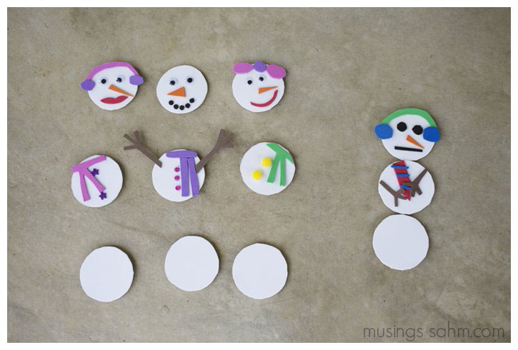 Mix and Match Magnetic Snowman Craft | Kids will love making this adorable craft that they can play with, making endless combinations of fun, pretty, or silly snowmen!