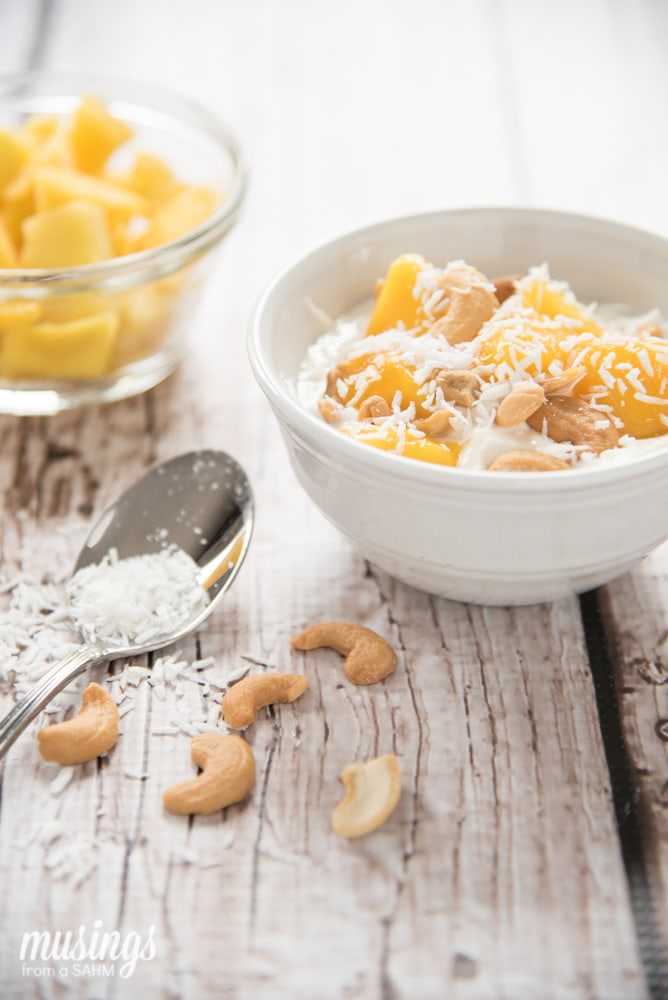 Coconut Mango Yogurt Delight recipe - a tasty healthy tropical snack packed with protein