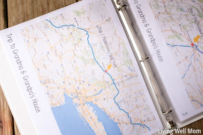 kids travel binder with road trip route marked on printed map