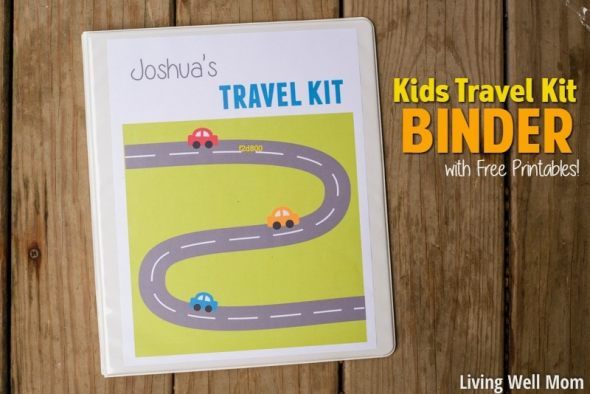 travel kit binder for kids on wooden background