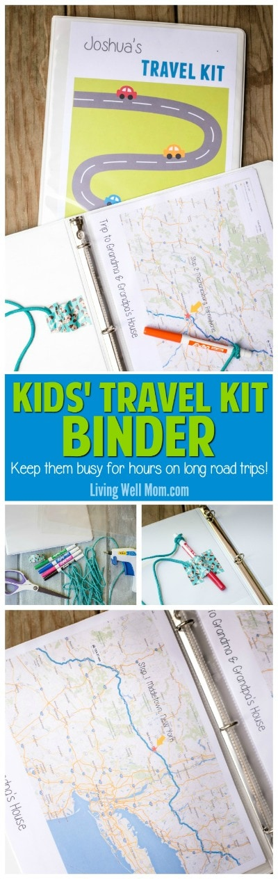 travel binder with free printable road trip games for kids
