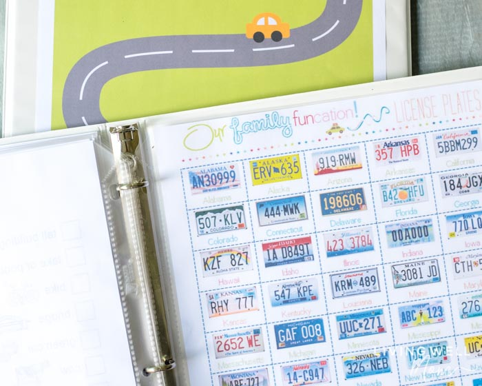 graphic about License Plate Game Printable known as Do it yourself Small children Generate Binder + Cost-free Printable Street Vacation Video games