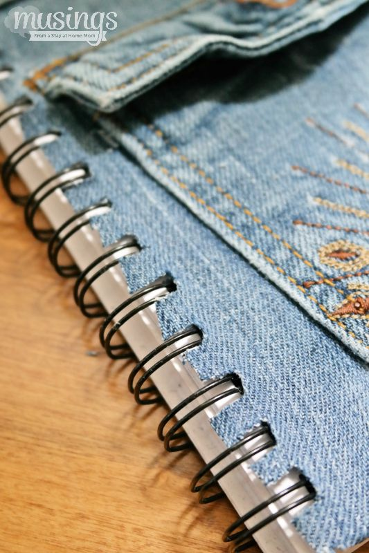 DIY Back to School Denim Notebook - a great way to add some style to a notebook, plus recycle an old pair of jeans that will be enjoyed for a long time to come!