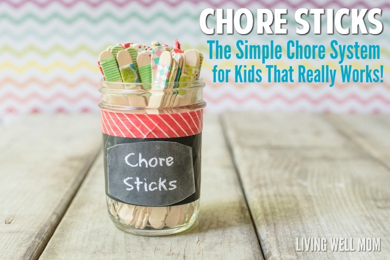 "Tired of fighting with your kids over chores? Check out this simple DIY chore system for kids that works so well, they may even beg you for more things to do! No fancy stuff or DIY-talent required, ""Chore Sticks"" is easy peasy to set up. Plus get your free printable chart here too!"