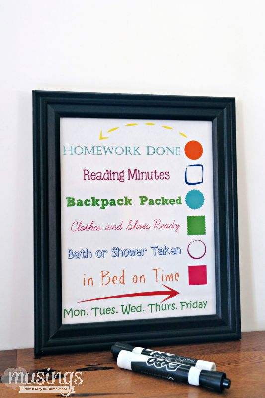 This Dry Erase Back to School Evening Checklist will make your family's transition back to the school season smoother. It's easy to make (grab your free printable checklist today!) and kids will love checking things off!