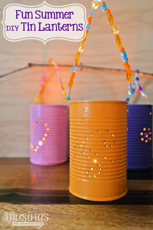 DIY Tin Lanterns are a fun, inexpensive way to recycle and add delightful decoration to your backyard on warm summer nights!