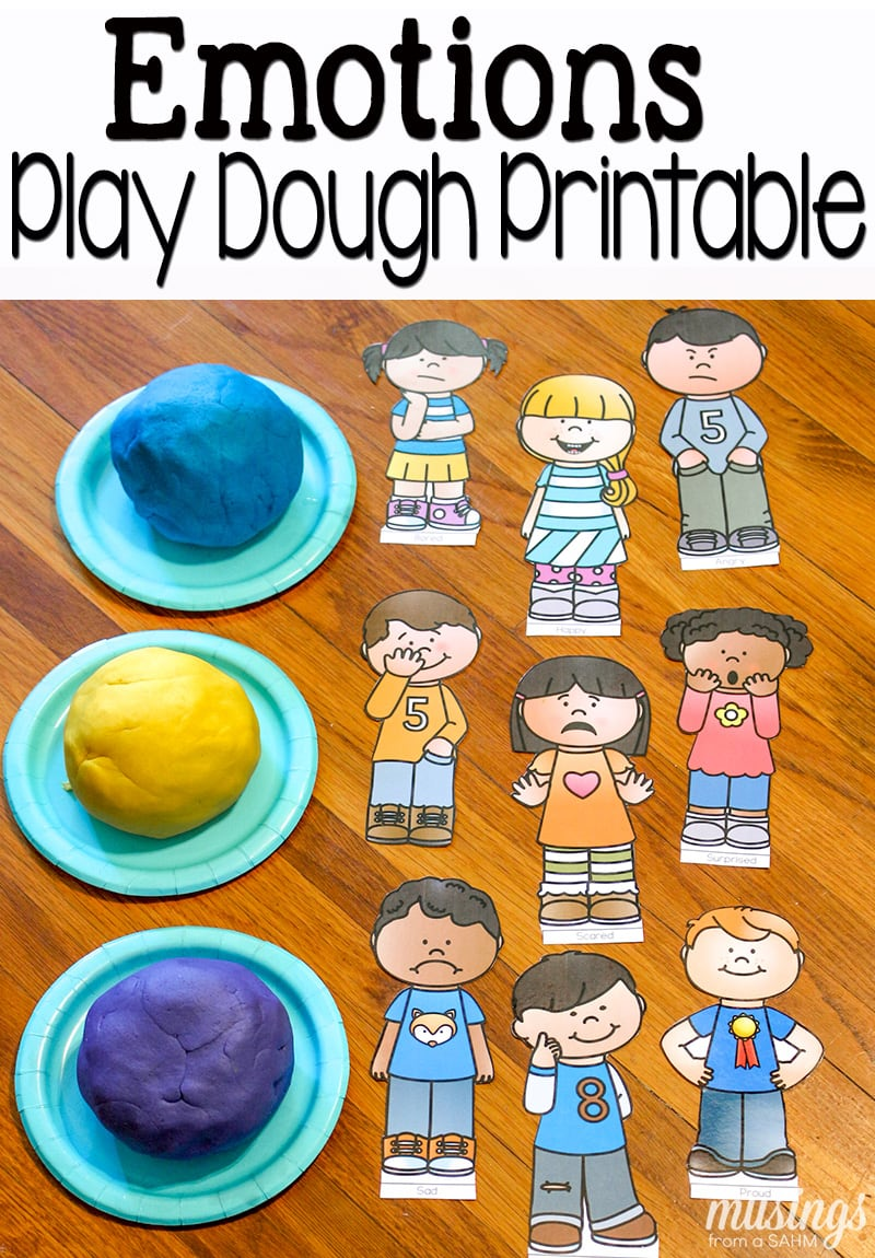 photo about Free Printable Pictures of Emotions titled Playdough Enjoyable with Thoughts + Absolutely free Printables