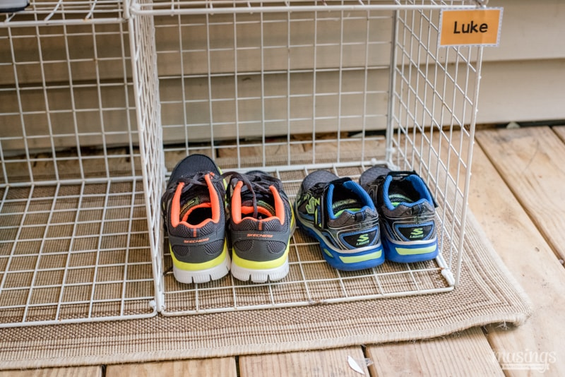 Keep your kids' shoes organized with this easy DIY shoe organizer. Since each child has their own space, it'll eliminate messy shoe piles and fighting. Grab your free printable labels too!