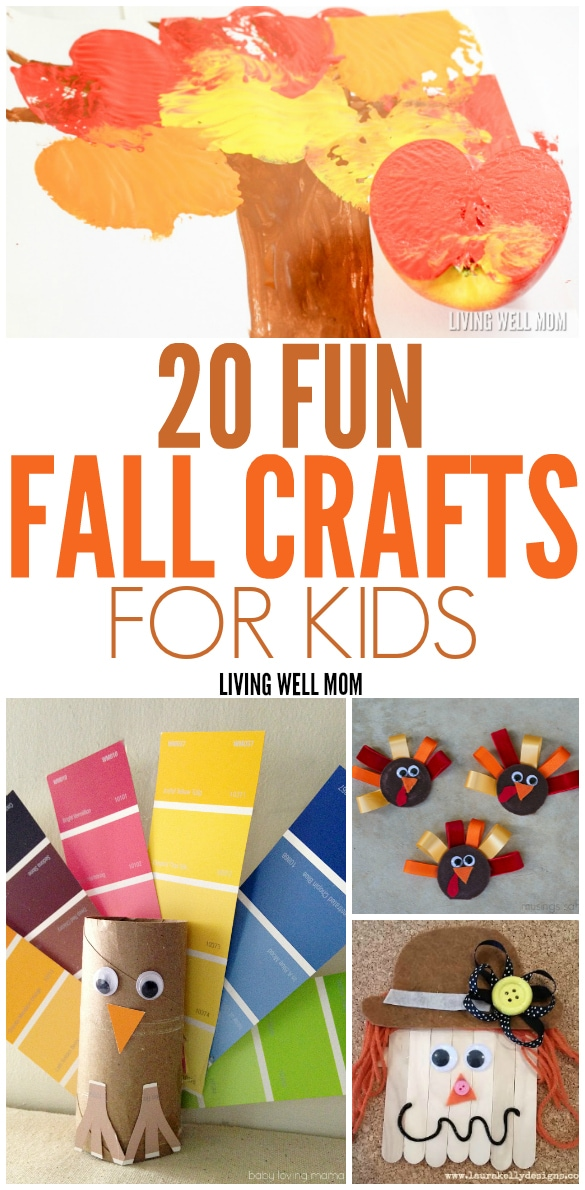 20 Fall Crafts for Kids - from nature projects with leaves, pinecones, and apples to Thanksgiving and turkey theme crafts, there's lots of fun activities here