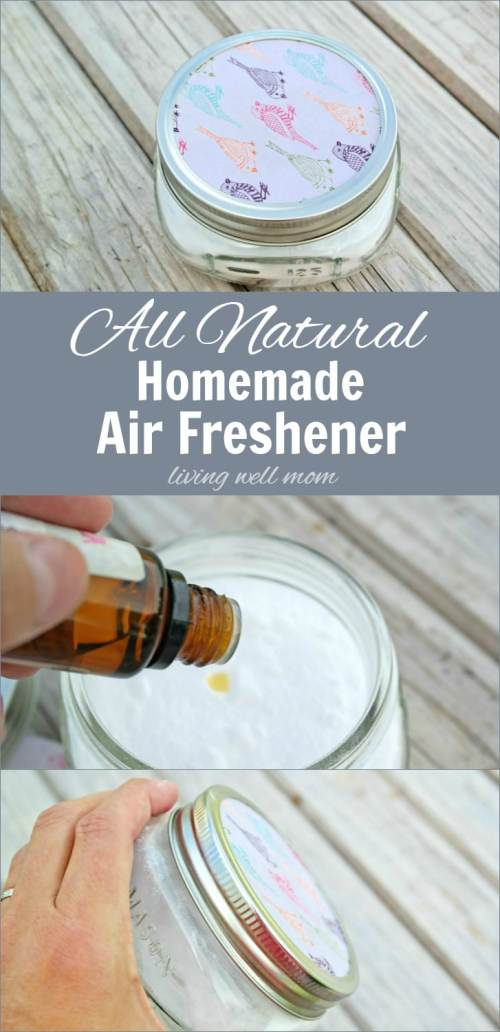Need to get rid of unpleasant odors? Try this all natural Homemade Air Freshener - it absorbs yucky smells and replaces it with your favorite essential oil scent. Plus it's so easy to make, you can have one for every room in your house!