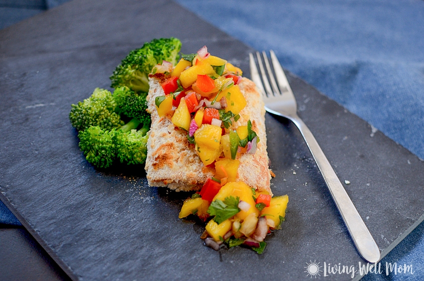 With simple, wholesome ingredients, Coconut Crusted Salmon with Mango Pineapple Salsa is a delicious easy-to-make, Paleo-friendly dinner that tastes like a high-end restaurant meal.